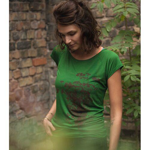 päfjes Pflanzen Kolibri V2 - Fair Gehandeltes Tencel Frauen T-shirt grün XS
