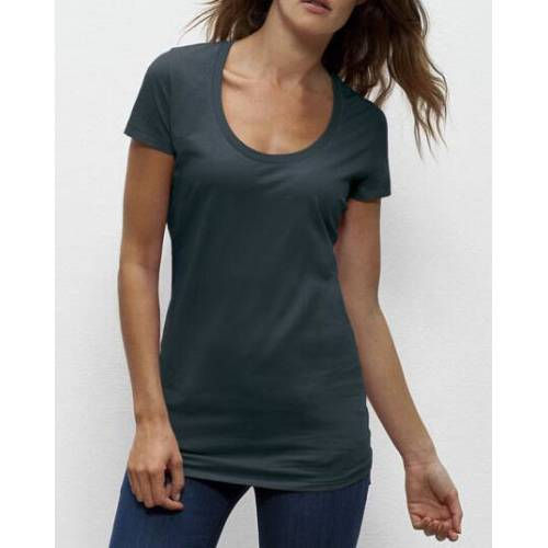 "University of Soul Damen T-shirt Aus Bio-baumwolle ""Faye"" altmodisches blau M"