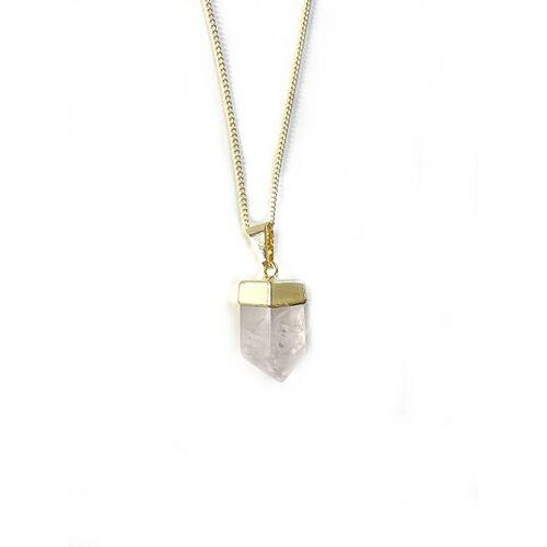 Crystal and Sage Rosenquarz Halskette gold
