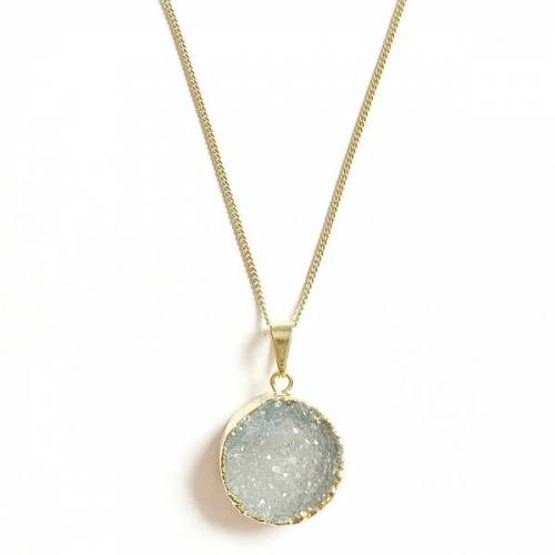 Crystal and Sage Achat Halskette Mit Vergoldetem Kreis