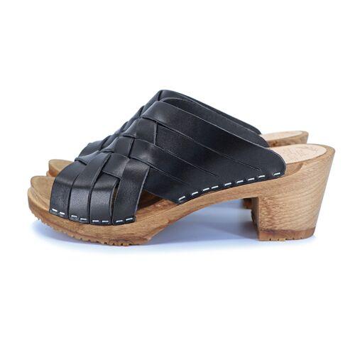 me&myClogs Sommar - Schwedische Holz Clogs Von Me&Myclogs - High Mid Heel schwarz 38