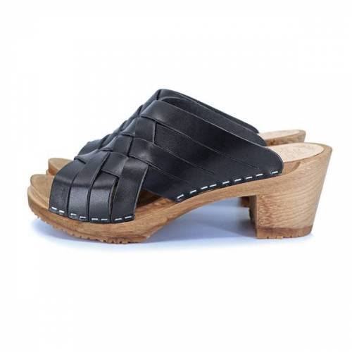 me&myClogs Sommar - Schwedische Holz Clogs Von Me&Myclogs - High Mid Heel schwarz 39