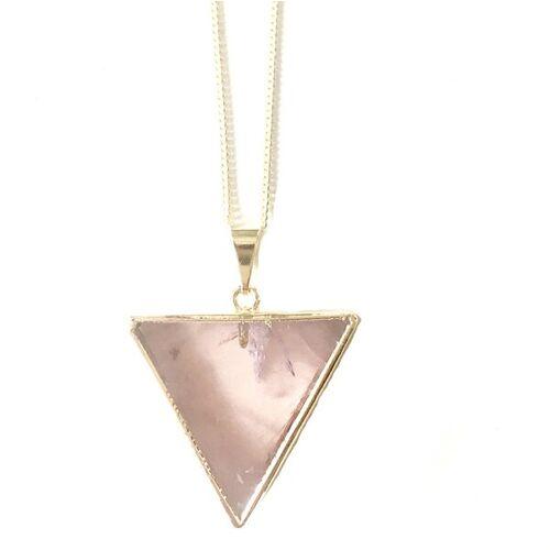 Crystal and Sage Rosenquarz Dreieck Halskette gold