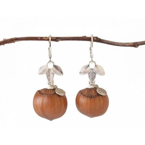 Zimelie Holzschmuck Pure Haselnuss Ohrringe In Silber   Naturschmuck silber