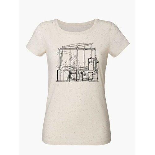 Unipolar Maschinenbau T-shirt   Dampfmaschine neppy mandarine ecru S