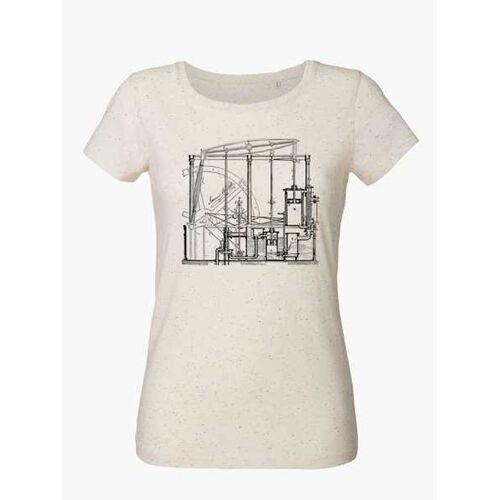 Unipolar Maschinenbau T-shirt   Dampfmaschine neppy mandarine ecru L