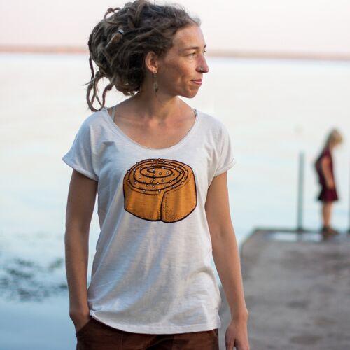 Cmig Zimtschnecke Damen Tshirt In Naturweiß beigeweiß XL