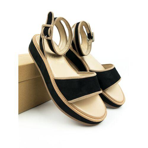 Will's Vegan Shop Plattform Sandale Schwarz Damen schwarz 40