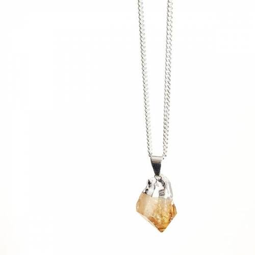 Crystal and Sage Yellow Stone - Halskette Mit Rauem Zitrin silber