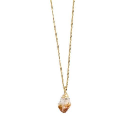 Crystal and Sage Yellow Stone - Halskette Mit Rauem Zitrin gold