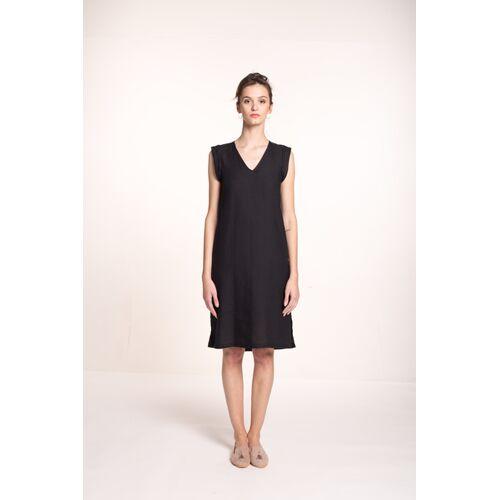 Mila.Vert Leinenkleid Mit V-ausschnitt  XL