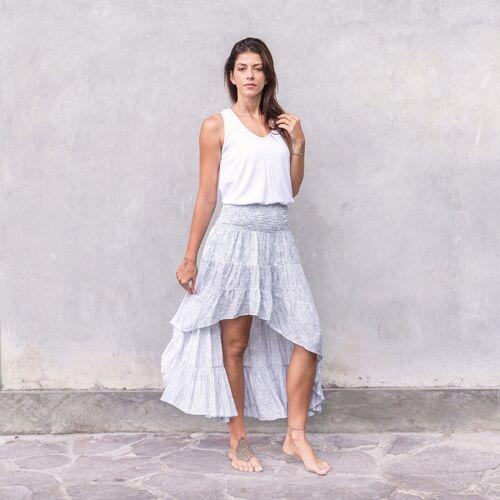 Jaya India Paisley - Damen - Leichter Sommerrock - Weiß paisley grey/weiß M/L