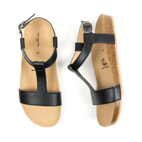 Will's Vegan Shop Sandalen Mit Fußbett Damen schwarz 36