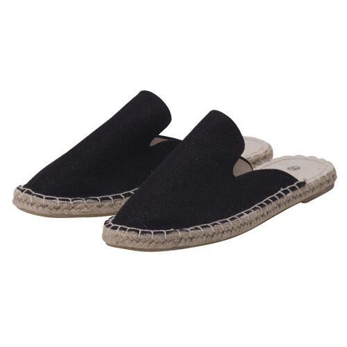 Japanwelt Espadrilles Damen Espadrilles Canvas Pantoffeln Glitzer Leinen Sommerlatschen schwarz mit glitzer 36