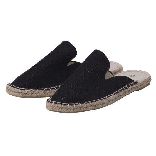 Japanwelt Espadrilles Damen Espadrilles Canvas Pantoffeln Glitzer Leinen Sommerlatschen schwarz mit glitzer 41