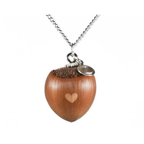 Zimelie Haselnuss Herzkette Mit Kleiner Herzgravur Silber silber