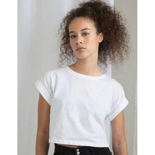 Mantis Damen T-shirt Cropped Bauchfrei Kurz weiß XL