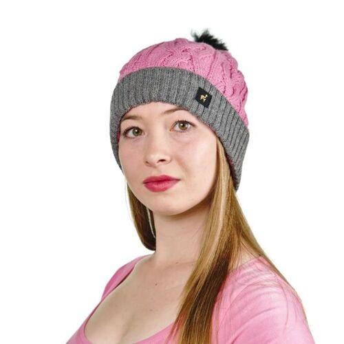 AlpacaOne Alpaka Damen Mütze Andrea Mit Bommel One Size 100% Alpaka rosa/grau