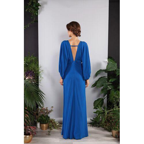 SinWeaver alternative fashion Langes Kleid, Abendkleid Rückenfrei Weite Ärmel blau L