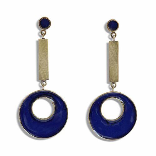 ting goods Ohrringe Brass Blue, Messing Und Emaille blau