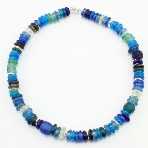 """steinfarben Halskette """"Frollein Froehlich"""", Krobo-glasperlen, Keramik Versilbert brise (blau)"""