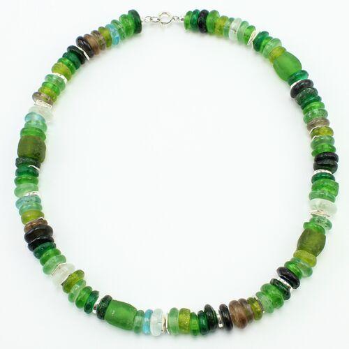 """steinfarben Halskette """"Frollein Froehlich"""", Krobo-glasperlen, Keramik Versilbert wiese (grün)"""