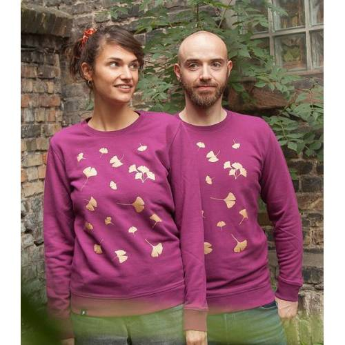 päfjes Ginkgoblätter In Gold - Unisex Sweater - Lila gold L