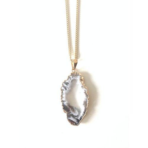 Crystal and Sage Ananda - Vergoldete Halskette Mit Achatscheibe Mit Kristalldruse