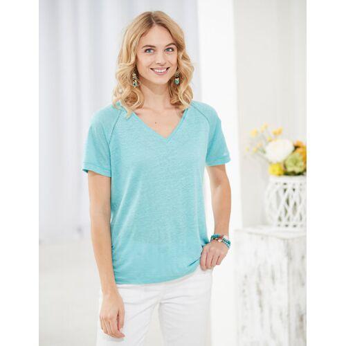 Deerberg Leinenjersey-shirt Nanon aqua M