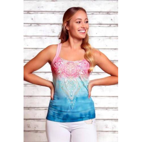 The Spirit of OM Yogatop Mandala Indigo/peach indigo XS