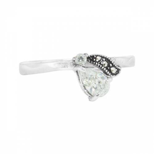pakilia Ring Silber Kristalltröpfchen Pyrit-steinchen Handmade Fair-trade silber