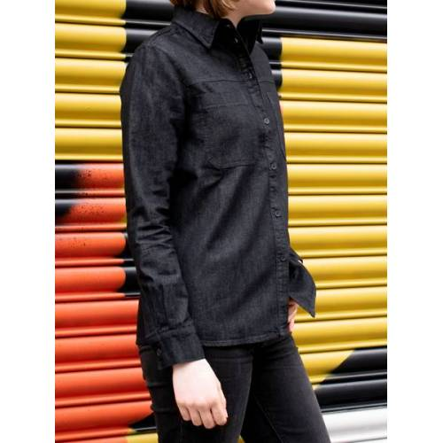 Will's Vegan Shop Chambray-hemd Schwarz Chambray Damen schwarz chambray XL