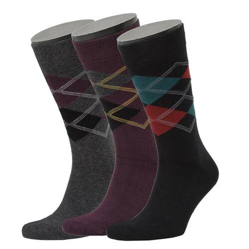 Opi & Max 3er Set Argyle Pattern Socks  39-42