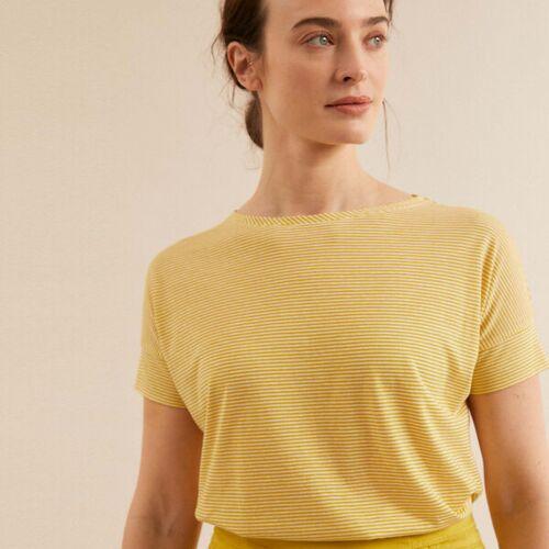LANIUS U-bootshirt Mit Streifen Gots gelb (kiwi gold / white) 40