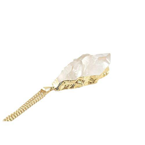 Crystal and Sage Gold Cluster - Vergoldete Bergkristallkette gold