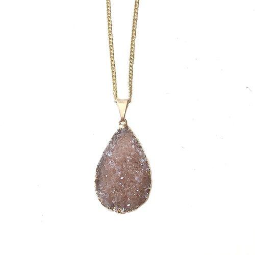 Crystal and Sage Halskette Mit Vergoldetem Achat In Tropfen Von Crystal And Sage gold