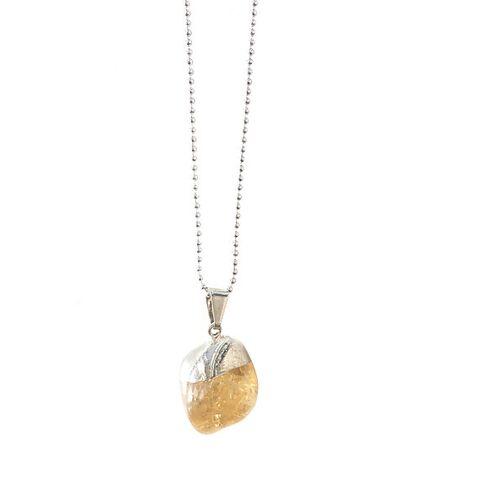 Crystal and Sage Tilly - Zitrin Halskette silber
