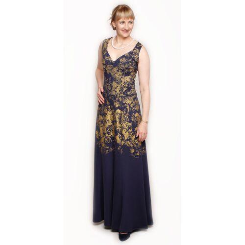 Peaces.bio - handbedruckte Biomode Abendkleid Golden Roses dunkelblau M