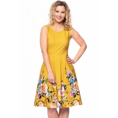 Ingoria Iris Kleid Mit Blumenbordüre gelb L