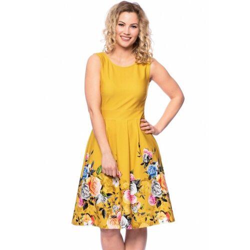 Ingoria Iris Kleid Mit Blumenbordüre gelb XL