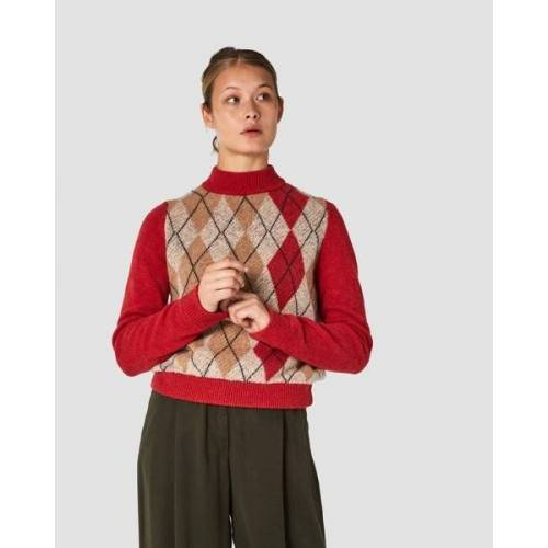 Kings Of Indigo Pullover Rose (Argyle Red Beige) red S