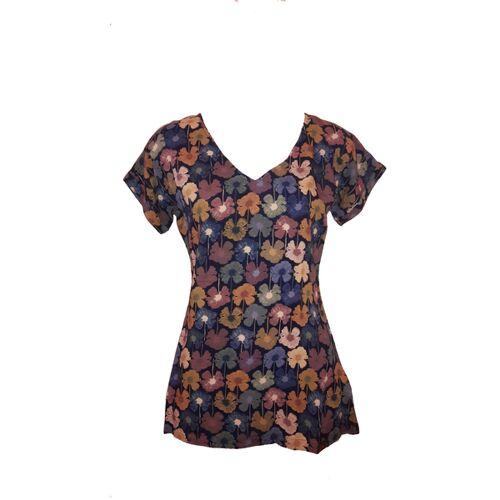 """Chapati T-Shirt T- Shirt Chapati V-neck Bio 100% Viskose Eco B """"blume blau"""" (navy) XL"""