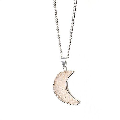 Crystal and Sage Moon - Vergoldete Halskette Mit Achatmond Mit Kristalldruse silber