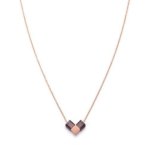Kerbholz Halskette Mit Holzelement 'Heart Cube' rosegold rosenholz