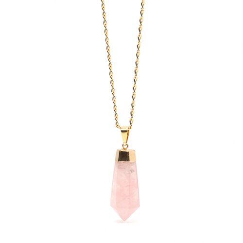 Crystal and Sage Rosy Rosenquarz Halskette Von Crystal And Sage gold