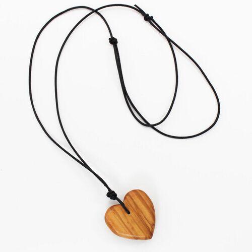 Mitienda Shop Halskette Herz   Holzkette Mit Lederband