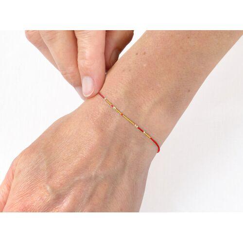 renna deluxe Morse-code Armband Vergoldet rot