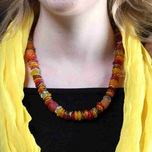 """steinfarben Halskette """"Frollein Froehlich"""", Krobo-glasperlen, Keramik Versilbert bonscher (rot)"""