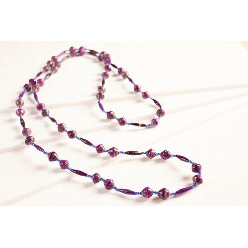 """PEARLS OF AFRICA Lange Halskette Aus Papierperlen """"Pearls Of Africa"""" lilatöne"""