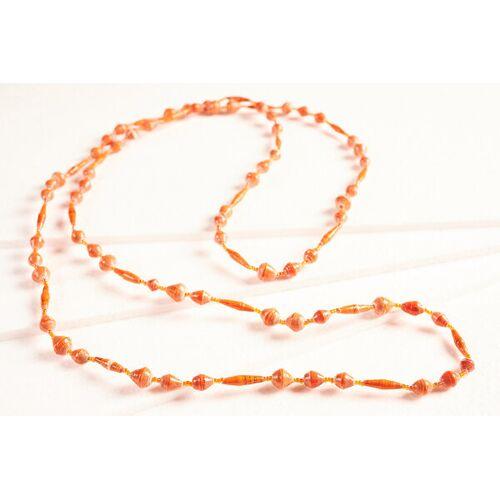 """PEARLS OF AFRICA Lange Halskette Aus Papierperlen """"Pearls Of Africa"""" orangetöne"""